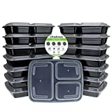 #3: Freshware Meal Prep Containers [15 Pack] 3 Compartment with Lids, Food Containers, Lunch Box | BPA Free | Stackable | Bento Box, Microwave/Dishwasher/Freezer Safe, Portion Control, 21 day fix (32 oz)