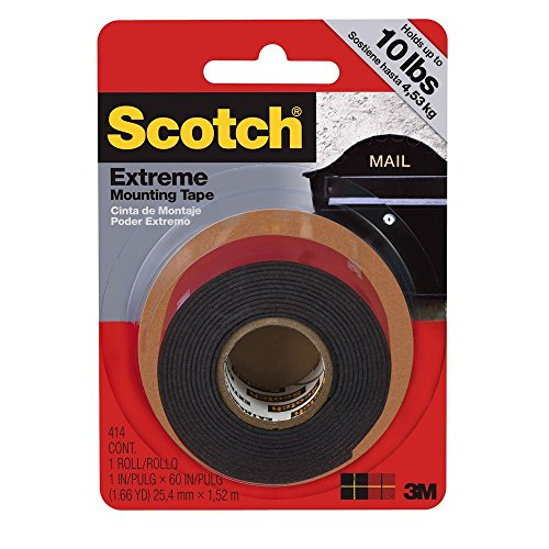 Scotch 414/DC Extreme Mounting Tape, 1 by 60-Inch, Black, 2-PACK