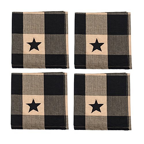Black and Ivory Black Star Check Plaid 18 x 18 All Cotton Napkin Pack of 4