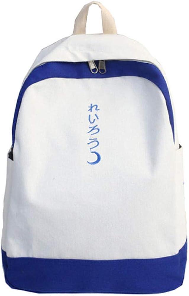 PKCABMoon Japanese ins bolso de hombro de lona Sen girl Ancient sense Harajuku ulzzang bolsa de estudiante de secundaria (Moon) White With Blue Edges