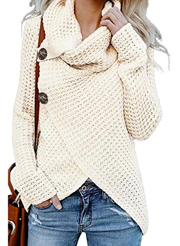 Asvivid Womens Fall Button Turtle Cowl Neck Long Sleeve Asymmetric Wrap Comfy Soft Loose Pullover Sweaters Plus Size 1X Cream