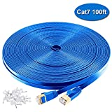 Cat 7 Ethernet Cable 100ft Blue,High Speed 10Gbps 600MHz Computer Networking Cable