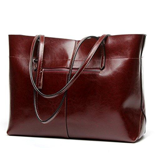 Women's Leather Work Tote Large Shoulder Bag Top Handle Handbag Zipper Closure Wide Coffee