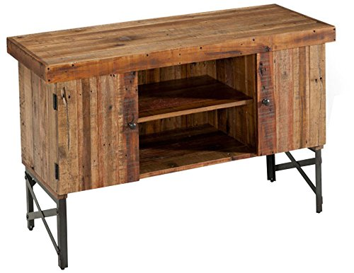 Emerald Home Chandler Rustic Wood Sofa Table with Solid Wood Top, Two Cabinets, And Open Center Shelving by Emerald Home (Image #2)