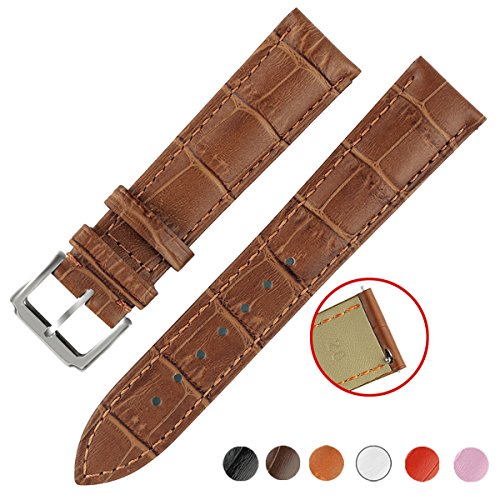 Quick Release Leather Watch Bands, OWNITOW Genuine Leather Watch Straps 24mm, Light Brown