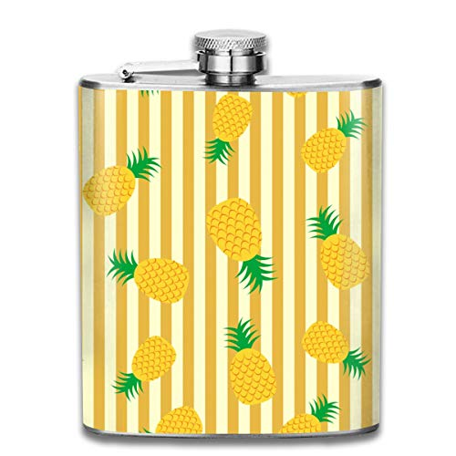 CIWO Cks Pineapple Stripe Top Shelf Stainless Steel Flask Personalized of Alcohol Whiskey Rum and Vodka to Drink On The Go 7OZ