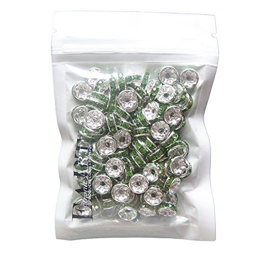 RUBYCA 100pcs Round Rondelle Spacer Charm Bead 4mm Silver Tone Peridot Green Czech Crystal DIY