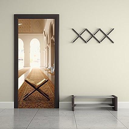 Kezhy Creative 3D Dream Bookshelf Oil Painting Wallpaper Door Stickers Home Bedroom Living Room Wall Art