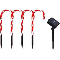 Dragonhoo Christmas Candy Cane Christmas Pathway Lights Markers (Red)