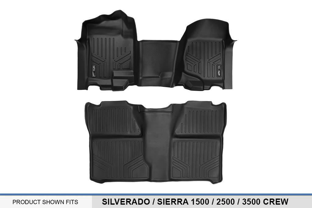 07-14 MAX LINER A0296//B0020 MAXFLOORMAT Floor Mats for Silverado//Sierra 1500 Crew Complete Set 1pc Front Row 07-13 2500//3500 Black