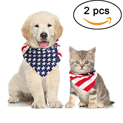 Orgrimmar 2 PCS American Flag Dog Bandana Bibs Scarfs Accessories for July 4th Pet-American Flag Cat Bandana for Large or Small Dogs