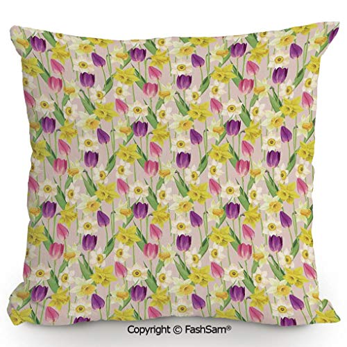 (FashSam Decorative Throw Pillow Cover Tulip and Daffodil Flower Stems with Leaves Summertime Vintage Floral Artwork for Pillow Cover for Living Room(16