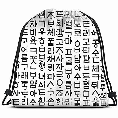 Korean Hangul South Koreas Raw Objects Drawstring Backpack Bag Sackpack Gym Sack Sport Beach Daypack For Girls Men & Women Teen Dance Bag Cycling Hiking Team Training