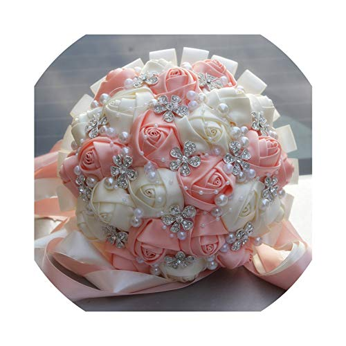 Champagne Cristal Rose - Coral Pink Ivory Champagne Satin Rose Festival Stitch Bouquets Custom Ribbon Wedding Bridal Bouquet Flowers,Ivory Peach,21Cm Diameter