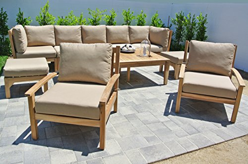 Outdoor Coal Fabric (Willow Creek Designs 10 Piece Huntington Seating Group with 42