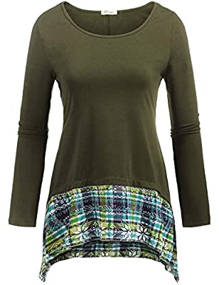 Beyove Women Asymmetrical Tunic Plaid Patchwork Loose Top