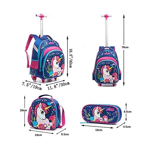 Zaino Scuola Bambino Trolley Unicorno, HTgroce 3 set Zaino Trolley Zainetto Ragazza in Nylon Con Ruote Regolabile Pull… 2 spesavip
