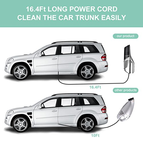 DEENKEE Car Vacuum Cleaner, 12V 5KPa Super High Power Suction Car Vacuum with 16.4ft Cable, Plugs into Lighter for Wet Dry/Dog Hair by DEENKEE (Image #4)'