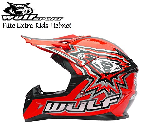 , GREEN XL MOTORBIKE WULFSPORT FLITE EXTRA CUB KIDS MX HELMET Motocross Quad Enduro PIT Sport ECE Helmet