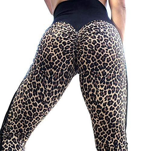 lumiyo Womens Yoga Pants Stretchy Skinny High Waisted Ruched Butt Lifting Long Workout Leggings (L, Leopard Print) ()