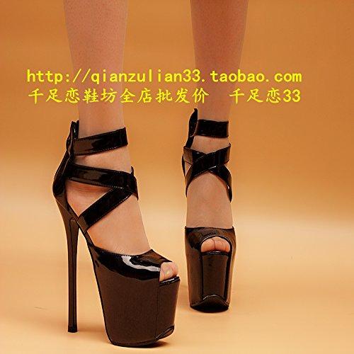 16 finos tacones y alto de gruesos Black zapatos de con XiaoGao talon cm TP8wdqd