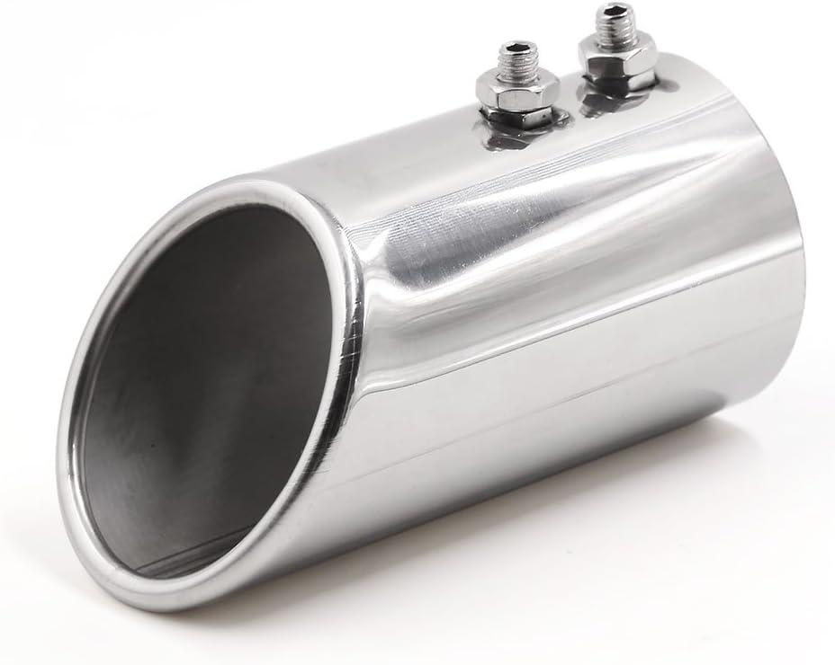 "UNIVERSAL 2.25/"" inch 57MM CAR STAINLESS CHROME EXHAUST MUFFLER SILENCER Silver"