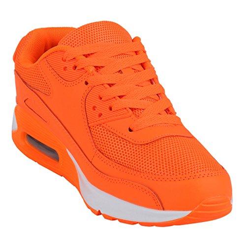 Japado Knallige Damen Herren Unisex Sportschuhe Auffällige Neon-Sneakers Sportlicher Eyecatcher Alltags-Look Angenehmer Tragekomfort Gr. 36-45 Neonorange Orange