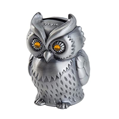 HEALLILY Metal Piggy Bank Owl Coin Bank Creative Money Holder Saving Pot for Desk Ornament Birthday New Years Gift: Toys & Games