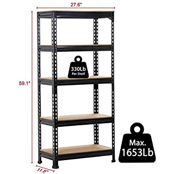 yaheetech heavy duty metal storage sheleves5 adjustable shelving units