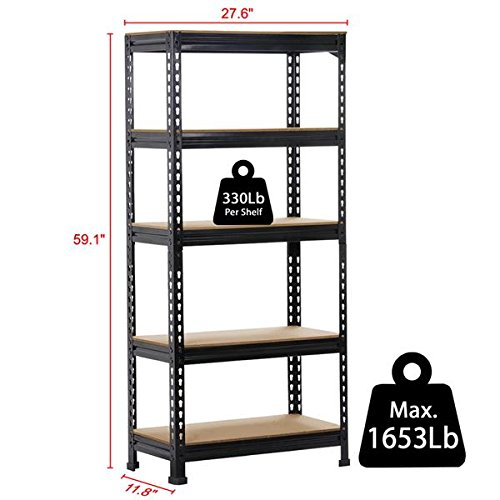 """Yaheetech Heavy Duty Metal Storage Sheleves,5 Adjustable Shelving Units,60""""Height,1653 Lb,Capacity per Shelf(Pack of 1)"""