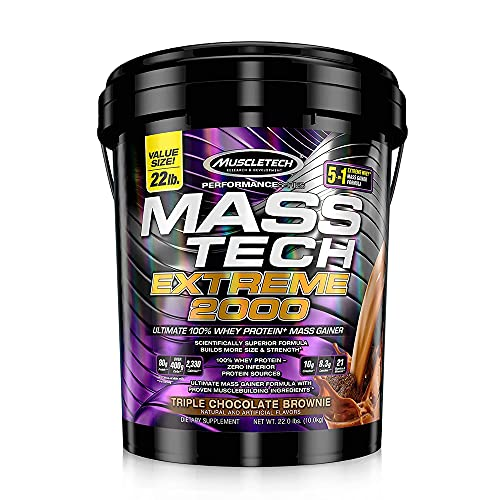 Muscletech Performance Series Mass Tech Extreme  Helps to gain mass, muscle size and strength Features 80g of protein, over 400g of carbs and 2,270 mass-producing calories, 8.2g of L-leucine, 10g of creatine, and 20 vitamins and minerals Designed for active men and women who struggle to build size and are looking to increase their dietary protein, carbohydrate and overall calorie intake