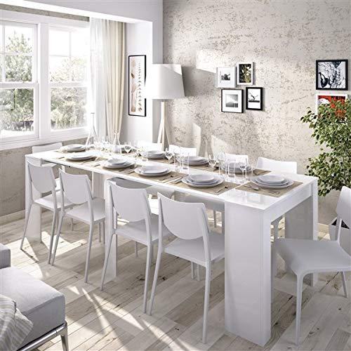HABITMOBEL Mesa de Comedor Consola Extensible hasta 239 cm, Acabado Blanco Brillo