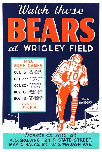 Chicago Bears Wrigley Field Game Schedule Poster 1938 ()