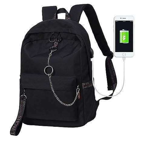 Escuela Mochila Talega de Libros Colegio Ordenador portátil USB Mochila Casual Viajes Daypack para Adolescente Chicas