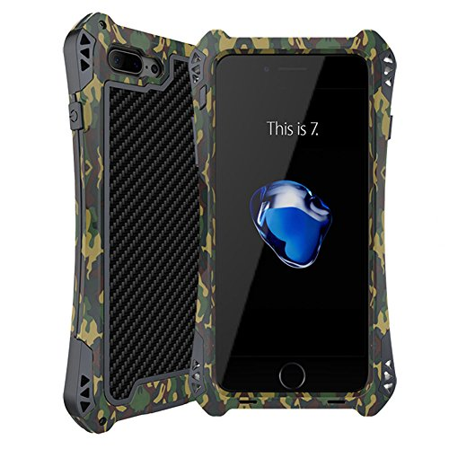 iphone 7 plus case,Feitenn Water resistant Armor case Extreme Alloy Aluminum Metal Bumper Gorilla Glass Soft Rubber Military Heavy Duty Shockproof Hard Case For iphone 7 plus 5.5 inch (Camouflage)