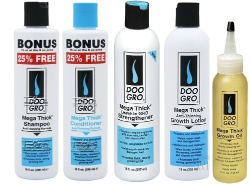 Doo Gro Mega Thick 5 PCS Combo Set (Shampoo, Conditioner, strengthener, Growth Lotion, and Growth Oil) Plus 1 Free pencil (Doo Gro Mega Thick Anti Thinning Growth Lotion)