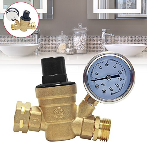 Signstek Water Pressure,Brass Lead-free Adjustable RV Water Pressure Reducer with Guage, for Home Garden and Campsites