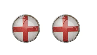 England National Flag 8mm St George's Stainless Steel Earrings 7a9wH58b