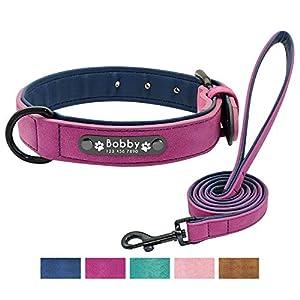 Didog – Collar de piel suave acolchada personalizable para perro, chapa de nombre, anilla en D, collar grabado para…