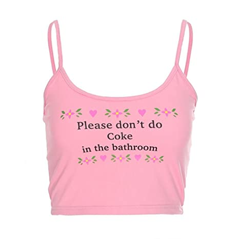 2e0b61f2e25c91 Webla Womens Crop Tops Letter Please Don t Do Coke in The Bathroom Print  Halter Short Vest Camisole Pink  Amazon.co.uk  Clothing