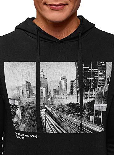 En Coton Imprimé 2910p Noir Oodji Ultra Hoodie Avec Homme IAanqtYS