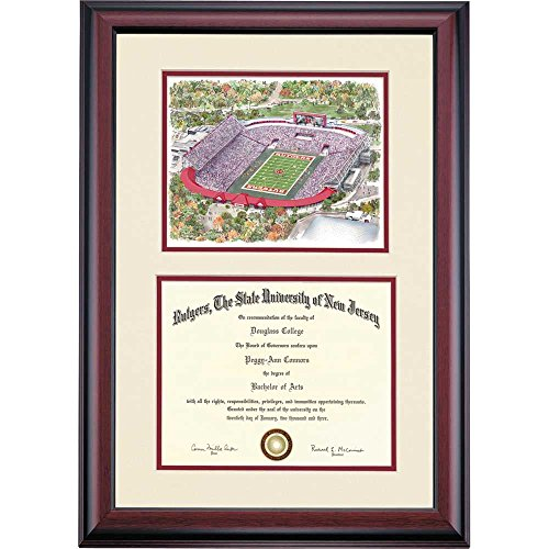 Rutgers Scarlet Knights Diploma Frame Ivory Maroon Matting Stadium Watercolor by Campus Linens