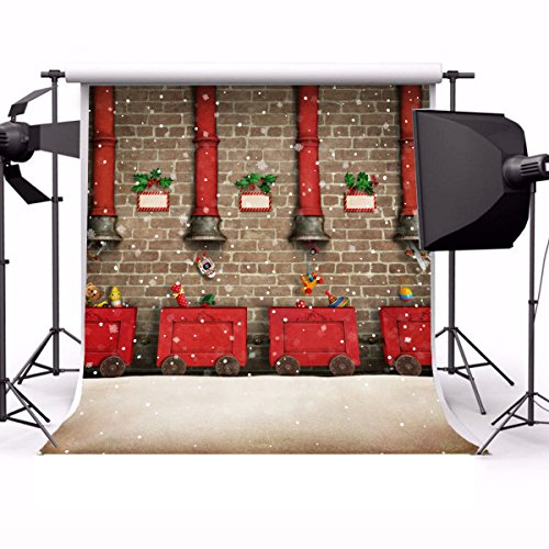 Laeacco 10x10ft Vinyl Backdrop Photography Background Holiday Greeting Card Christmas or New Year Winter Snowflakes Red Cart Cartoon Chimney Children Santa Claus Brick Wall Background Festival