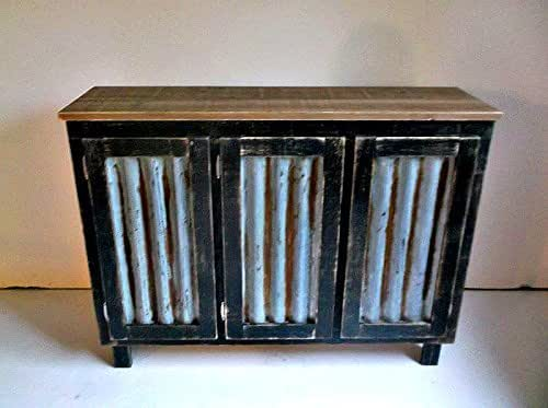 Amazon com Handmade Rustic Sideboard Bar Cabinet with Rusted and Reclaimed Metal Insert Doors