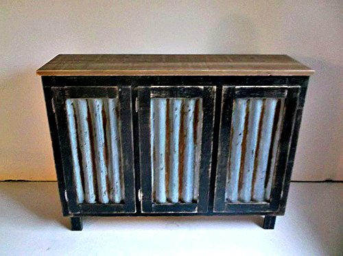 Handmade Rustic Sideboard Bar Cabinet with Rusted and Reclaimed Metal Insert Doors