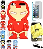 Bukit Cell 3D Superhero Bundle: Ironman Cute Justice League Cartoon Soft Silicone Case for Ipod Touch 6 6th Generation / 5 5th Generation + Cleaning Cloth + Screen Protector + Stylus Pen