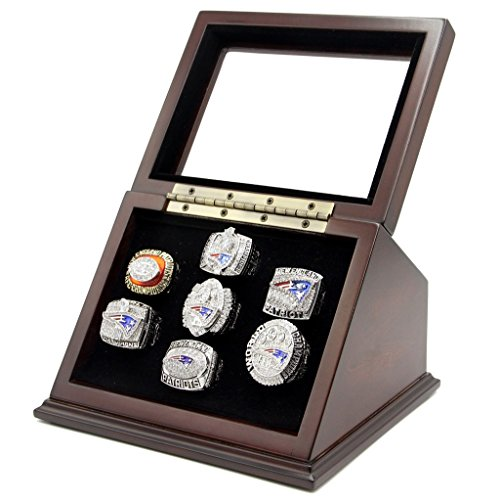 7 Slots Championship Rings Wooden Display case Shadow Box with Slanted Glass Window for Football Rings Basketball Hockey Sports Championship Rings - Rings are Not ()