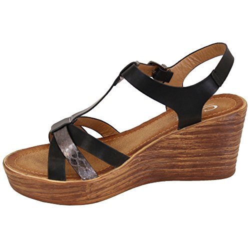 MCM Ladies Wedge Sandals Womens Strappy Open Toe Shoes Party Fashion Buckle Summer Black - 00315 LC3v22K