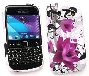 Emartbuy Blackberry 9790 En Negrilla Protector De Pantalla Y Gel De La Piel Cubierta De Púrpura Bloom
