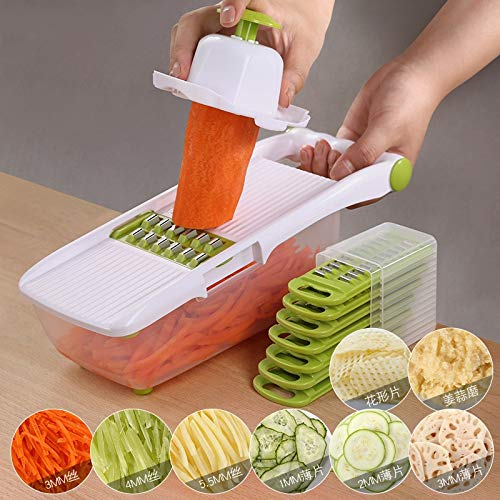Price comparison product image Manual Slicers - Manual Vegetable Cutter Slicer With 8 Stainless Steel Interchangeable Blades Mandoline Onion Potato - Mandolin The Dyson Commercial Cheese Melon Potato Ginger For Vegetable